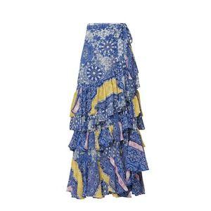 Misa Los Angelos Kristina Ruffle Wrap  Midi Skirt